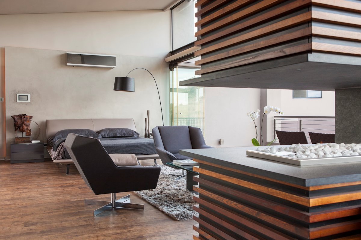 Contemporary Fireplace, Bedroom, House in Johannesburg