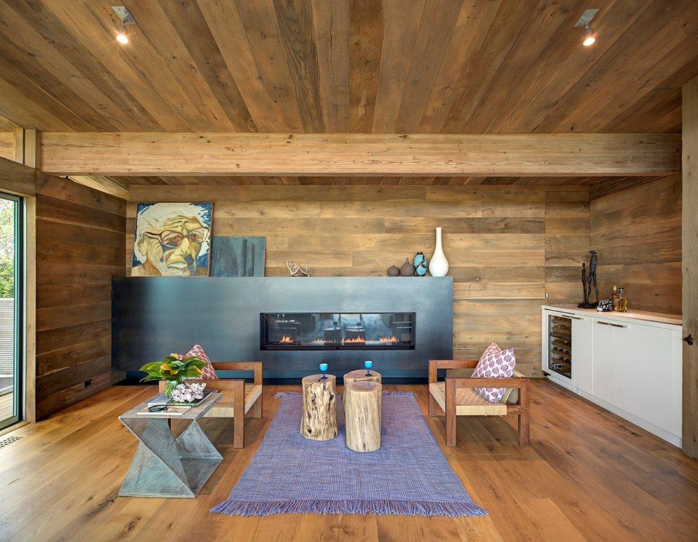Contemporary Fireplace, Living Room, Art, Home Addition, Southampton, New York