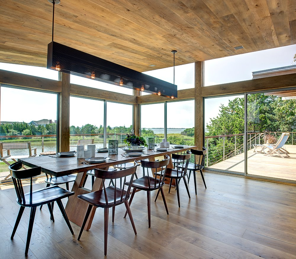 Dining Table, Bay Views, Lighting, Large Windows, Home Addition, Southampton, New York