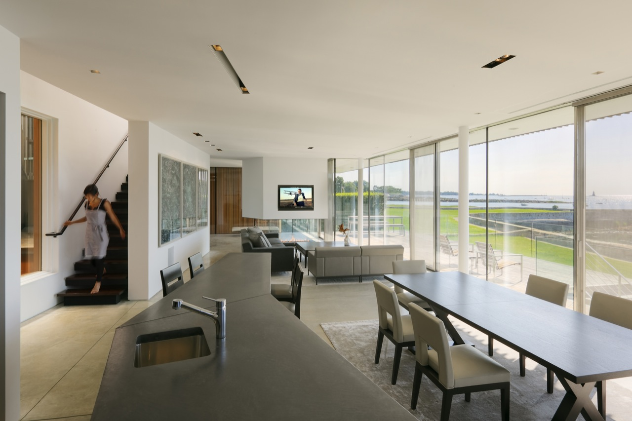 Dining Table, Kitchen, Breakfast Bar, Living Room, Oceanfront Residence in Connecticut