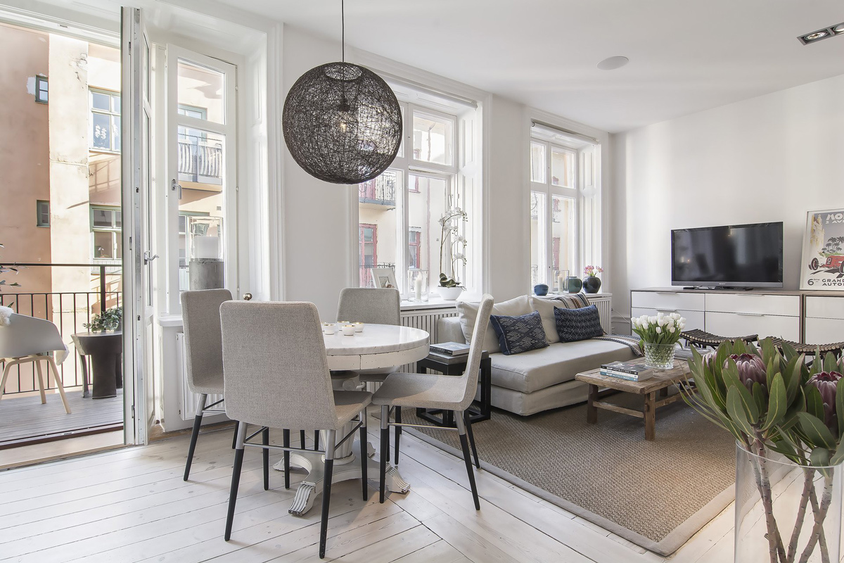 Dining Table Lighting Balcony Living Space Apartment In Stermalm Stockholm