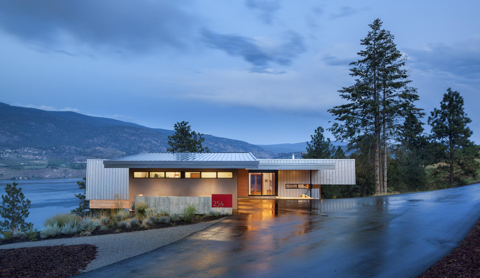 Driveway, Entrance, Evening, Lighting, Skaha Lake Home, Kaleden, British Columbia