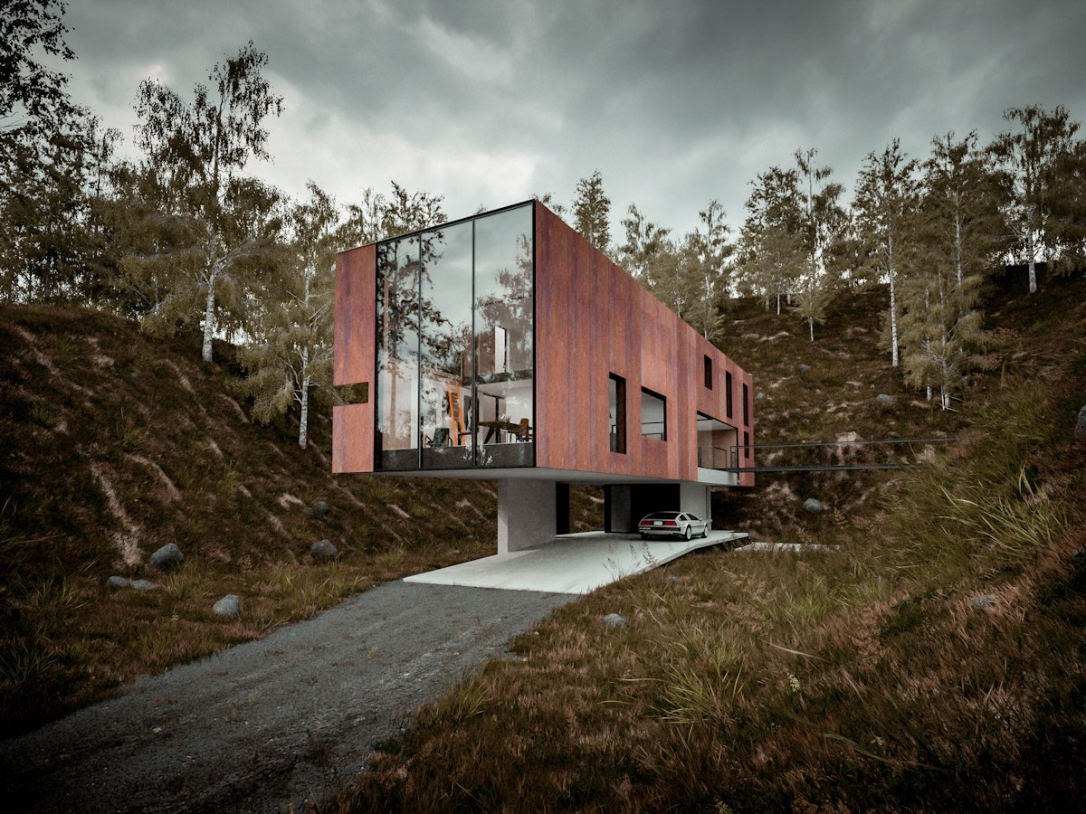 Driveway, Floor-to-Ceiling Windows, Cantilevered Home in Pontypridd, Wales