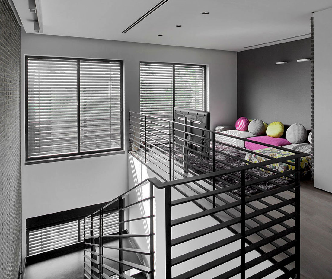 Entertainment Space, Stairs, Family Home in Ramat HaSharon, Israel