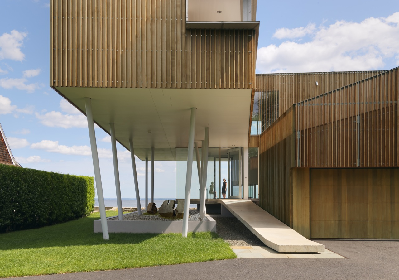 Entrance Bridge, Glass Walls, Oceanfront Residence in Connecticut