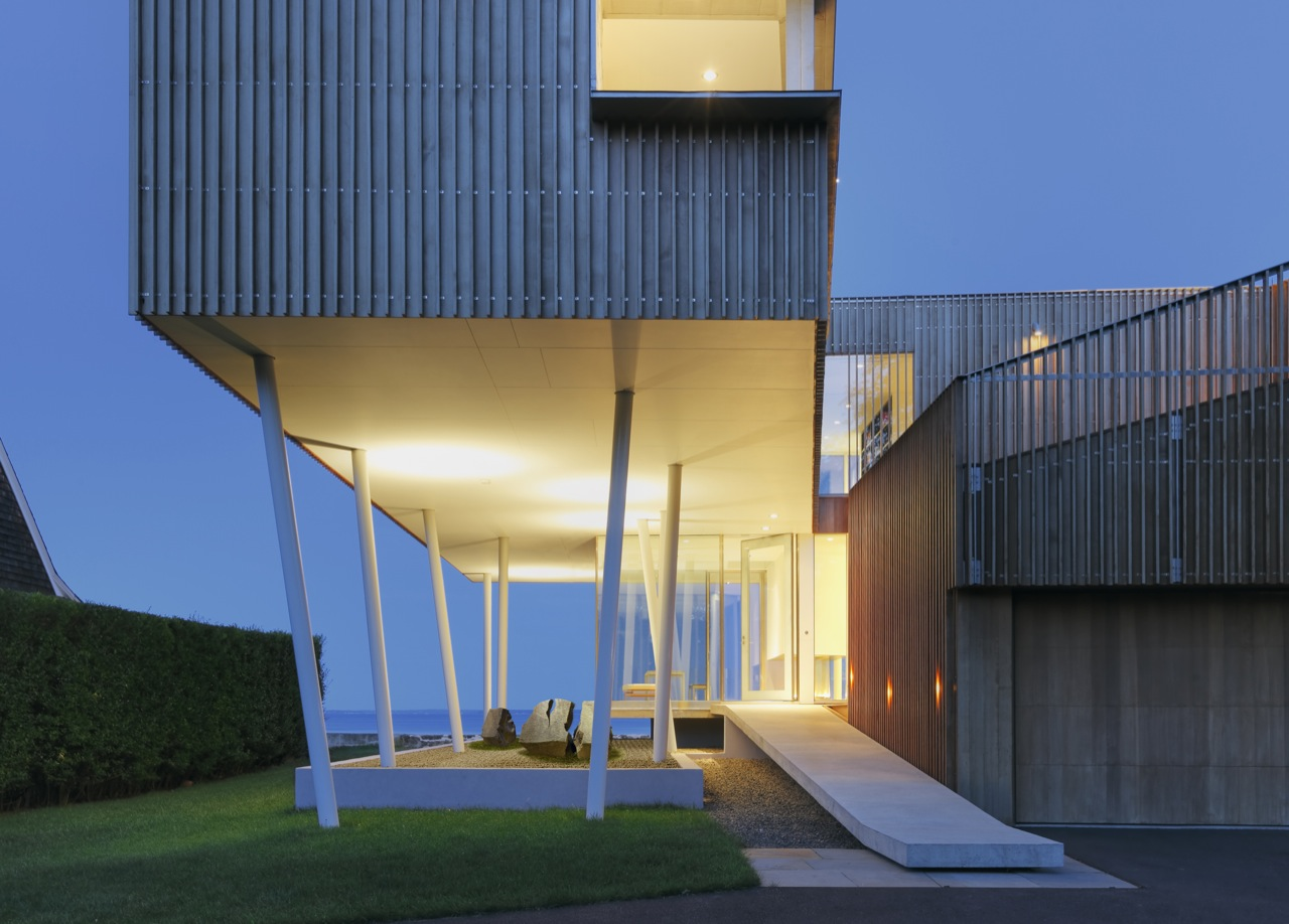 Entrance, Evening, Lighting, Oceanfront Residence in Connecticut