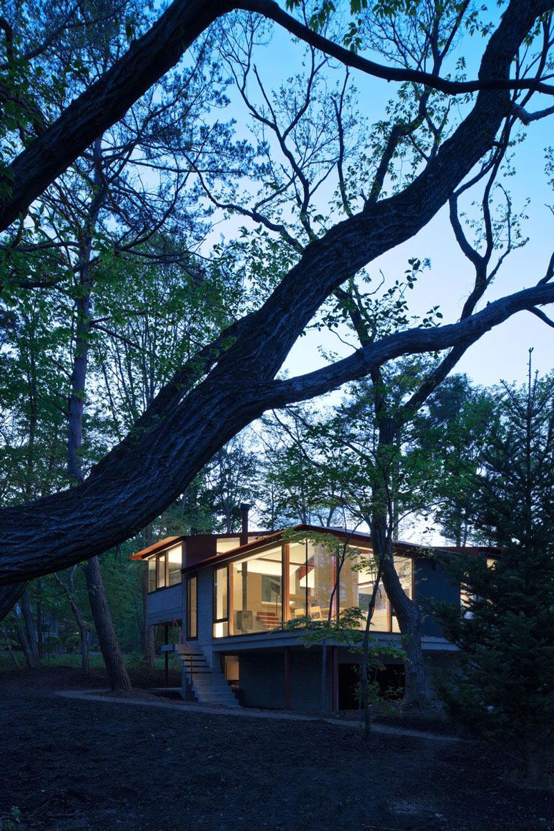 Evening, Lighting, Hilltop Home in Karuizawa, Japan