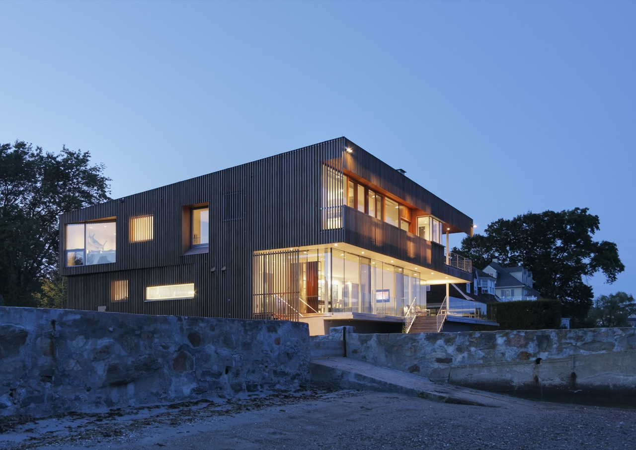 Evening, Lighting, Oceanfront Residence in Connecticut