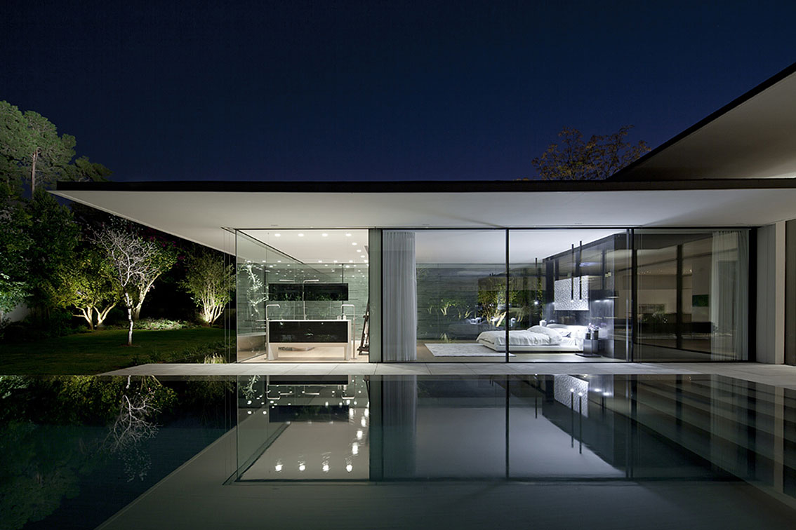 Evening, Lighting, Reflections, Float House in Tel Aviv, Israel