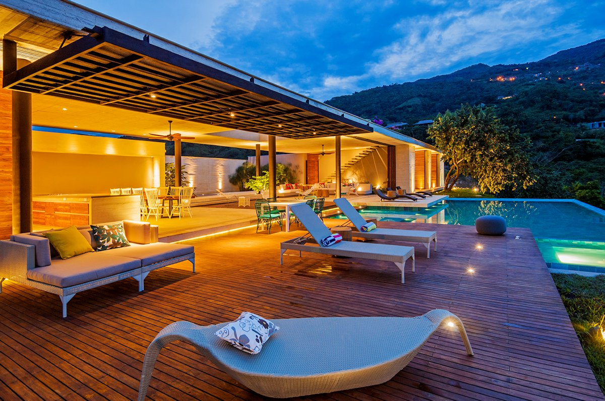 Evening, Lighting, Terrace, Pool, House in Villeta, Colombia