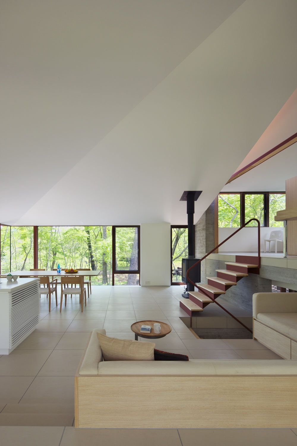 Fireplace, Open Plan Living Space, Hilltop Home in Karuizawa, Japan