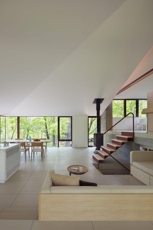 Fireplace, Open Plan Living Space, Hilltop Home in Karuizawa, Japan