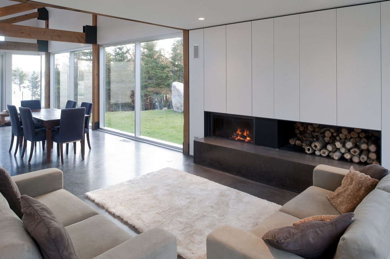 Fireplace, Rug, Sofas, Dining Table, House in Prospect, Nova Scotia