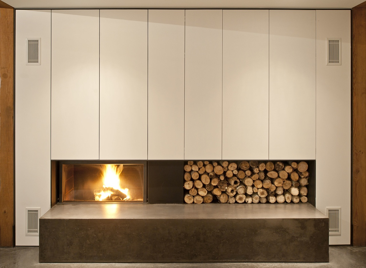 Contemporary Fireplace, Wood Store, House in Prospect, Nova Scotia