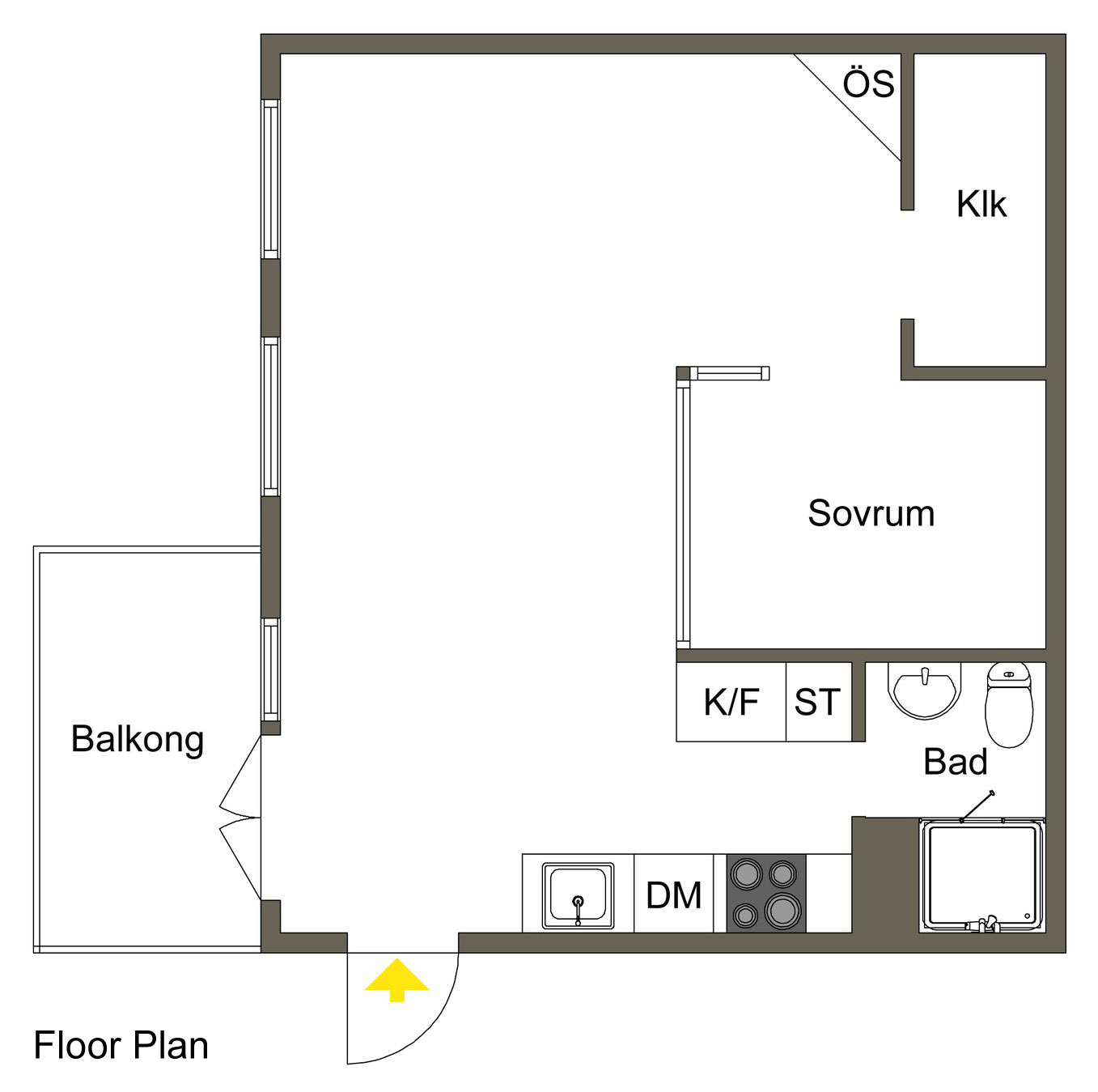 Floor Plan, Apartment in Östermalm, Stockholm