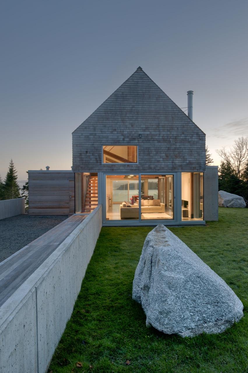 Front Façade, Evening Lighting, Pathway, House in Prospect, Nova Scotia