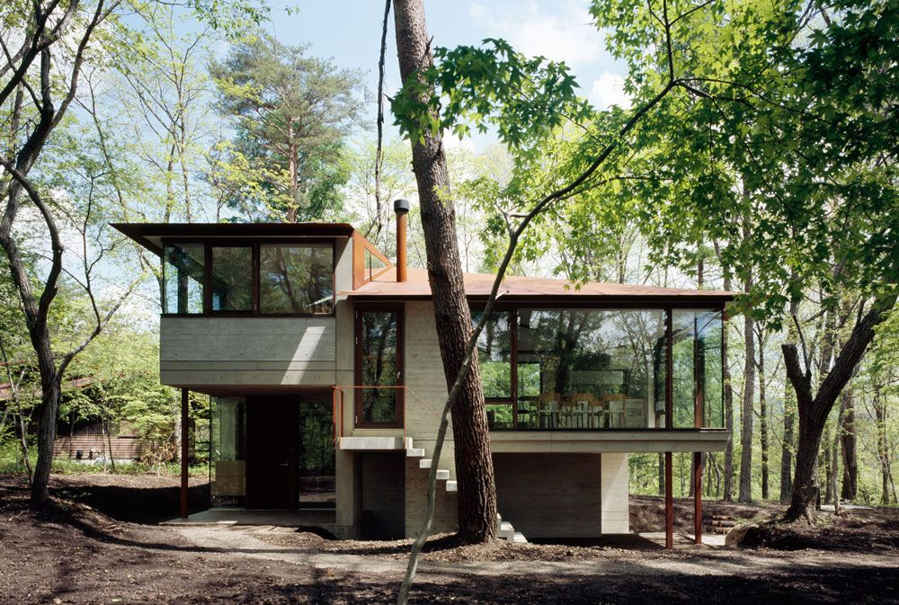 Front Façade, Stairs, Floor-to-Ceiling Windows, Hilltop Home in Karuizawa, Japan