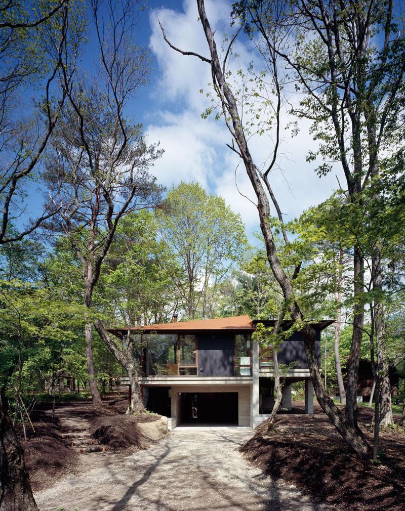 Garage, Driveway, Hilltop Home in Karuizawa, Japan