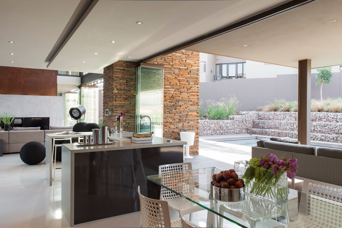 Glass Breakfast Table, Kitchen Island, House in Johannesburg