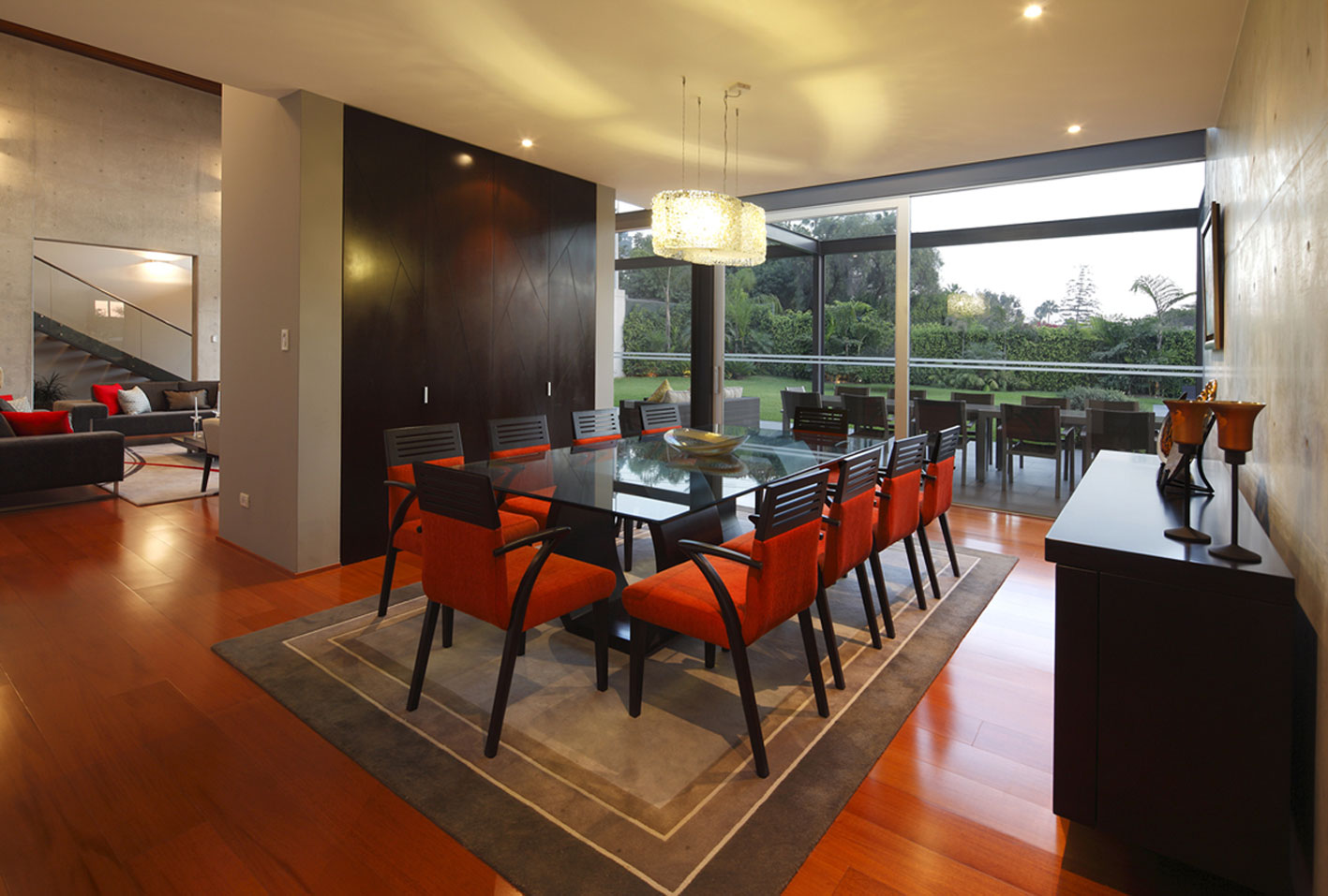 Glass Dining Table, Rug, Lighting, Imposing Family Home in Lima, Peru
