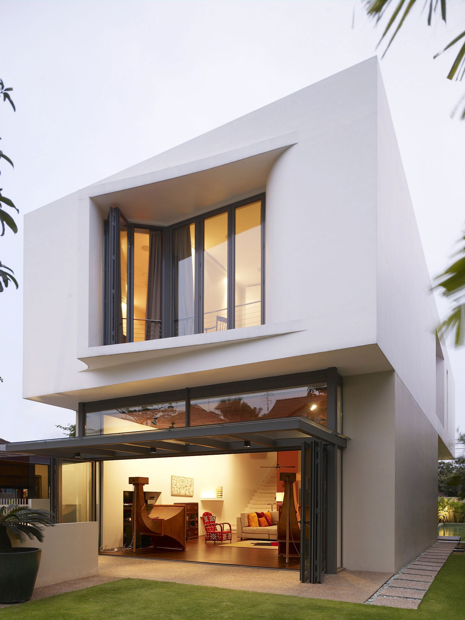 Glass Sliding Doors, Horn Speakers, Modern Home, Singapore