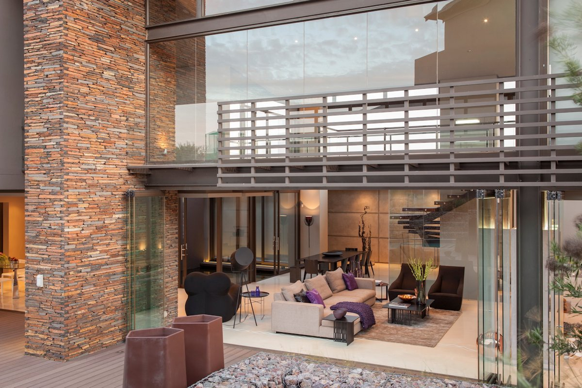 Glass Sliding Doors Stone Wall House In Johannesburg