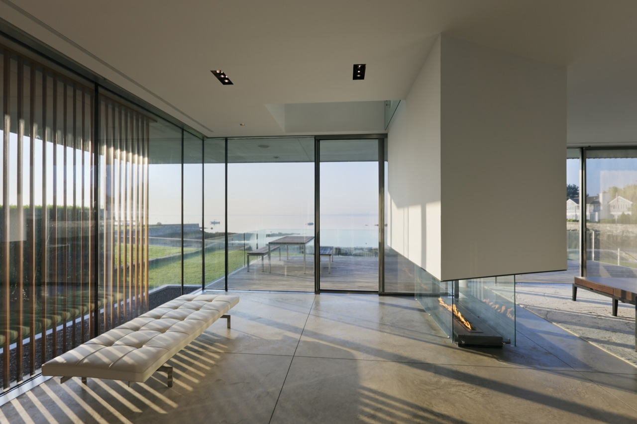 Glass Walls, Contemporary Fireplace, Oceanfront Residence in Connecticut