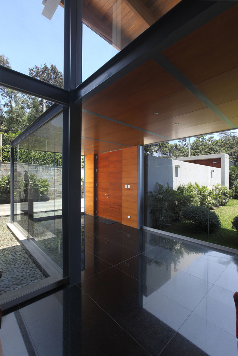 Glass Walls, Entrance, Imposing Family Home in Lima, Peru