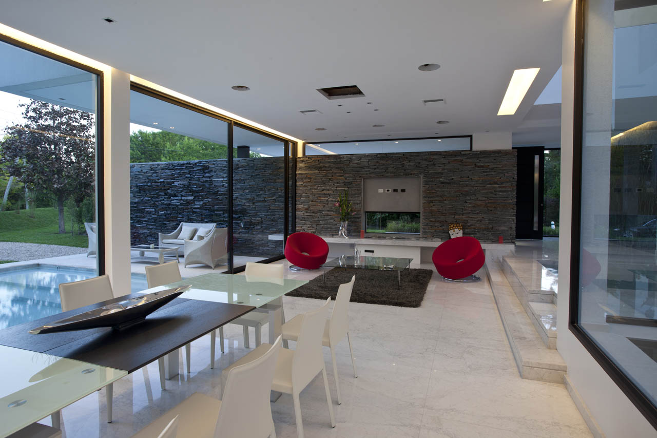 Glass & Wood Dining Table, Marble Tiles, Living Space, Modern House in Pilar, Buenos Aires