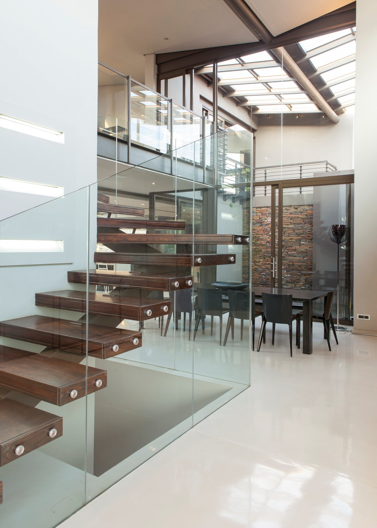 Glass & Wood Stairs, Dining Space, House in Johannesburg