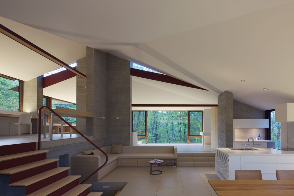High Ceilings, Living, Dining & Kitchen Space, Hilltop Home in Karuizawa, Japan