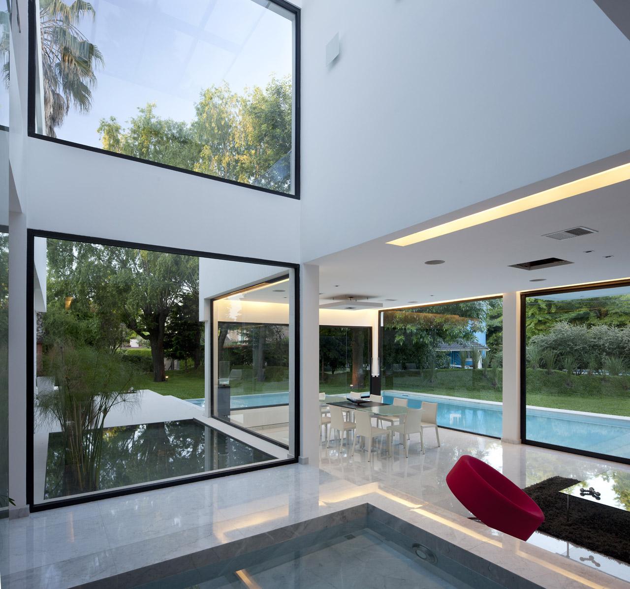 Indoor & Outdoor Water Features, Modern House in Pilar, Buenos Aires