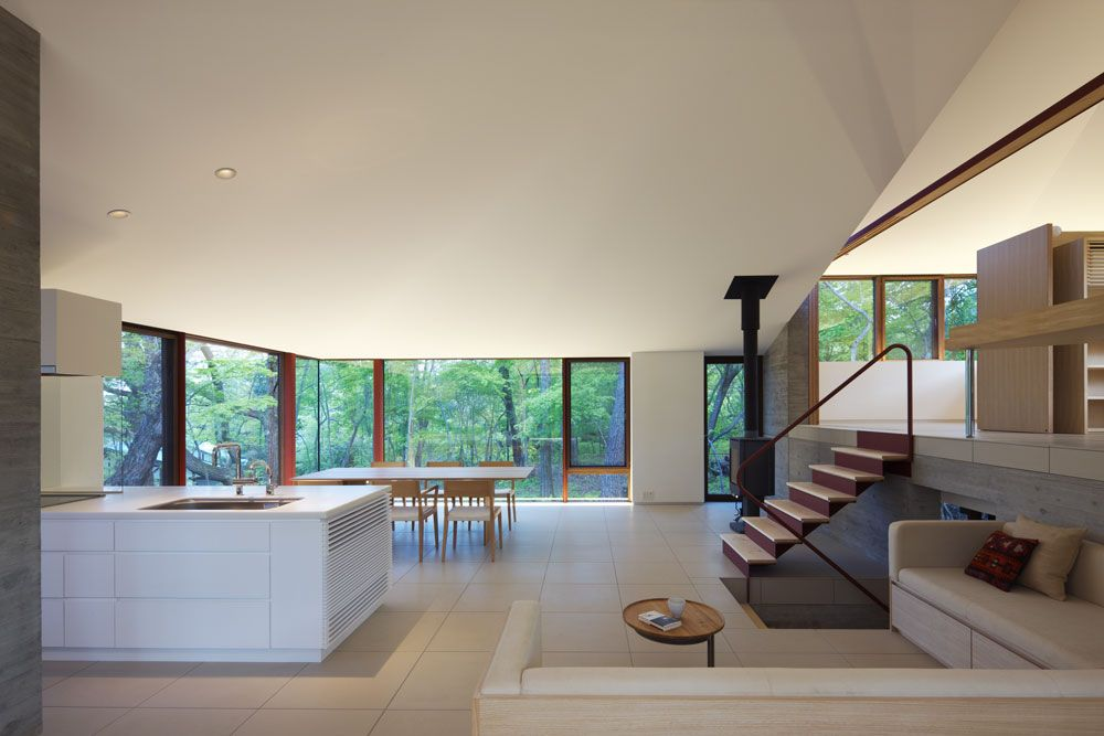 Kitchen, Dining & Living Space, Hilltop Home in Karuizawa, Japan