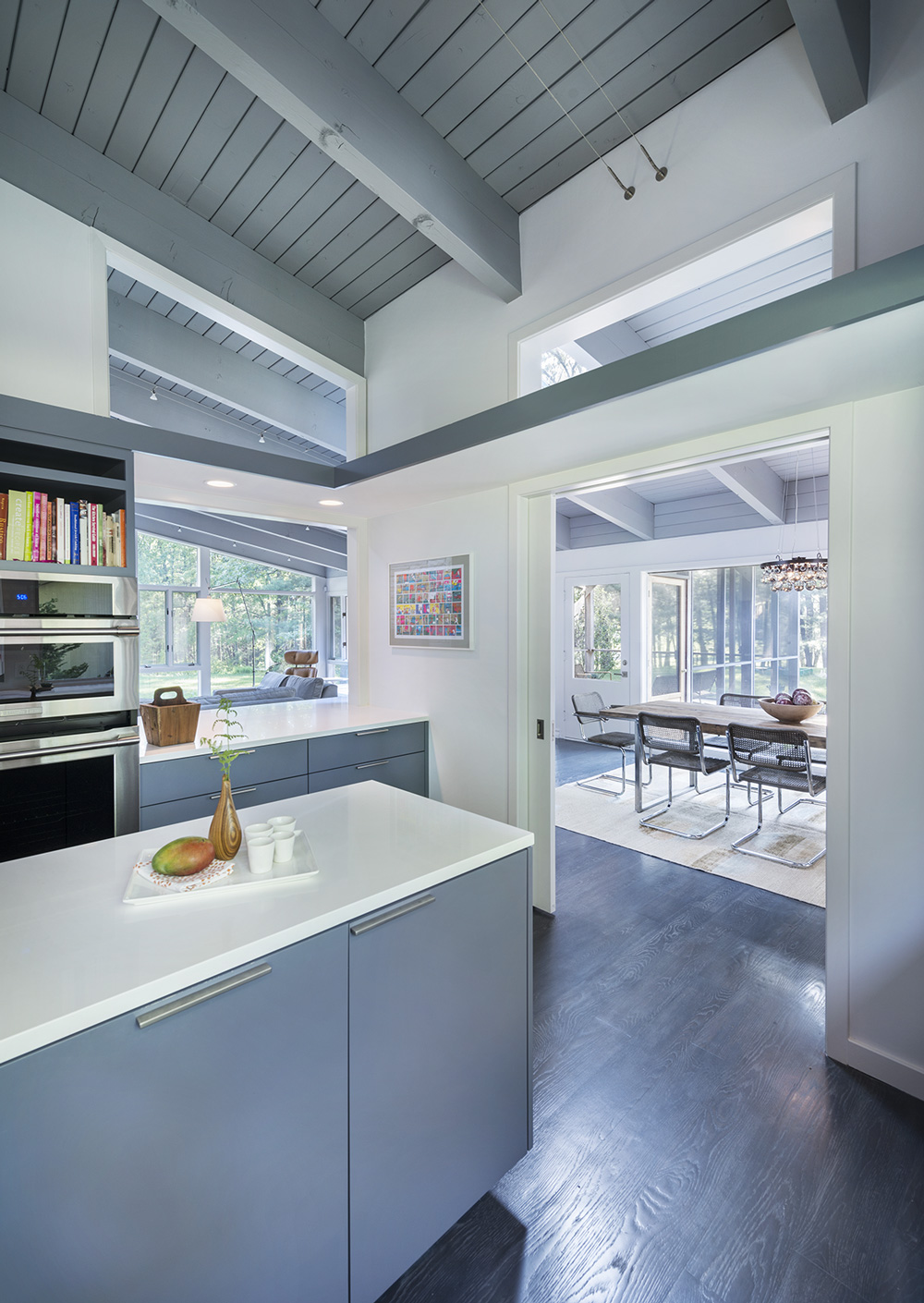 Kitchen Island, Dining Space, Mid-Century Modern House in Lincoln