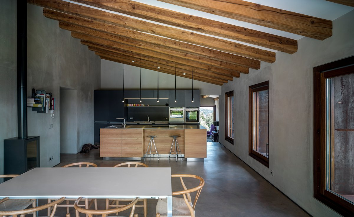 Kitchen Island, Dining Space, Sloping Ceiling, Wood Beams, Catalan Farmhouse, Girona, Spain