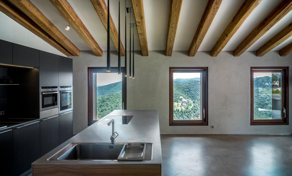 Kitchen Island, Lighting, Beams, Catalan Farmhouse, Girona, Spain