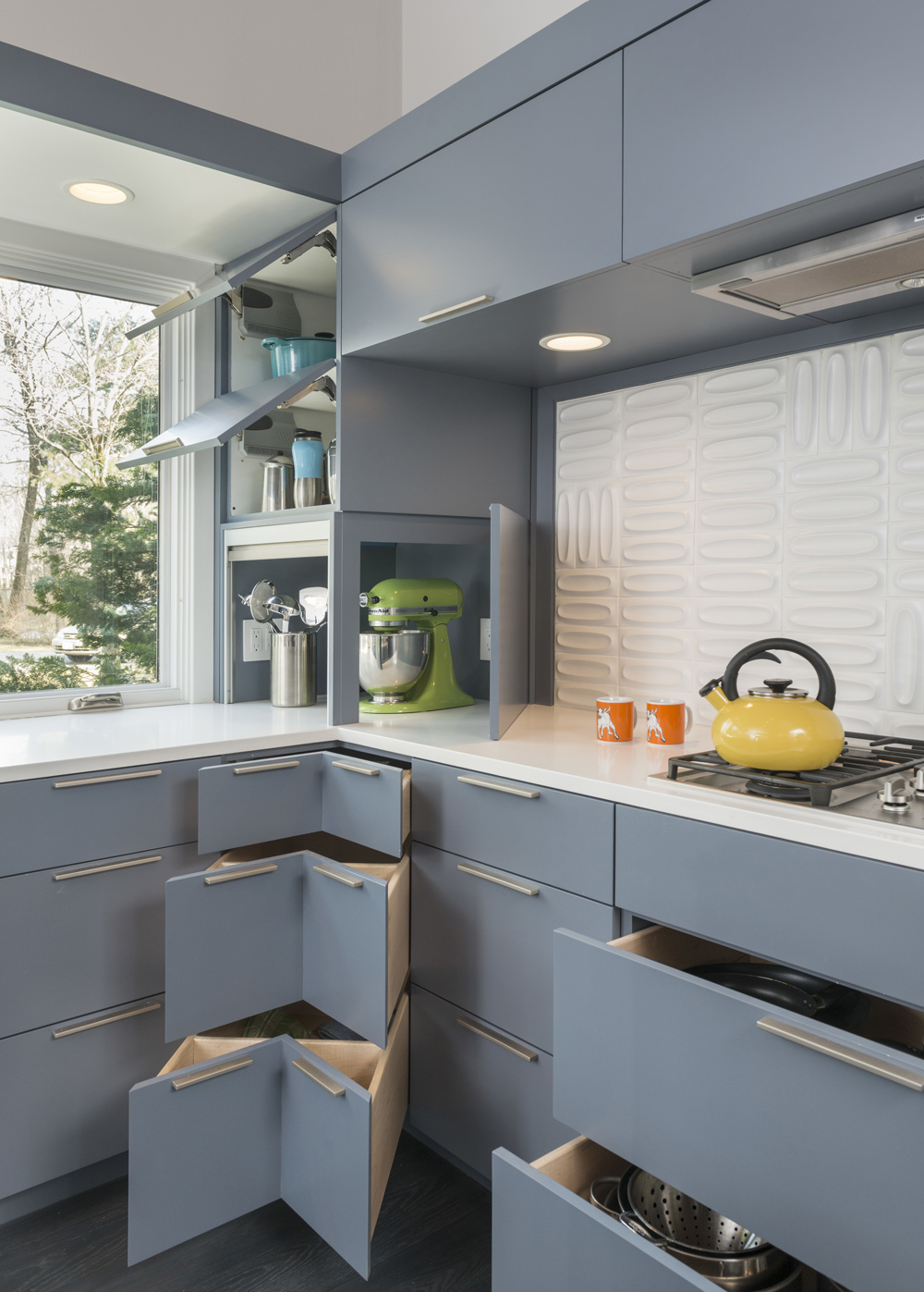 Kitchen, Open Cupboards, Mid-Century Modern House in Lincoln