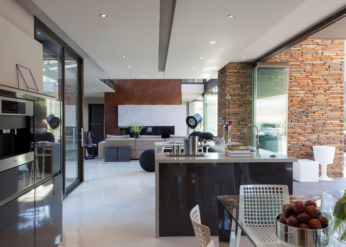 Kitchen, Open Plan, Glass Sliding Doors, House in Johannesburg