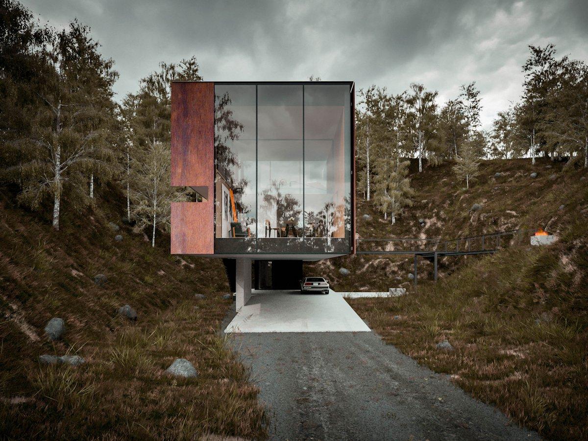 Large Windows, Cantilevered Home in Pontypridd, Wales