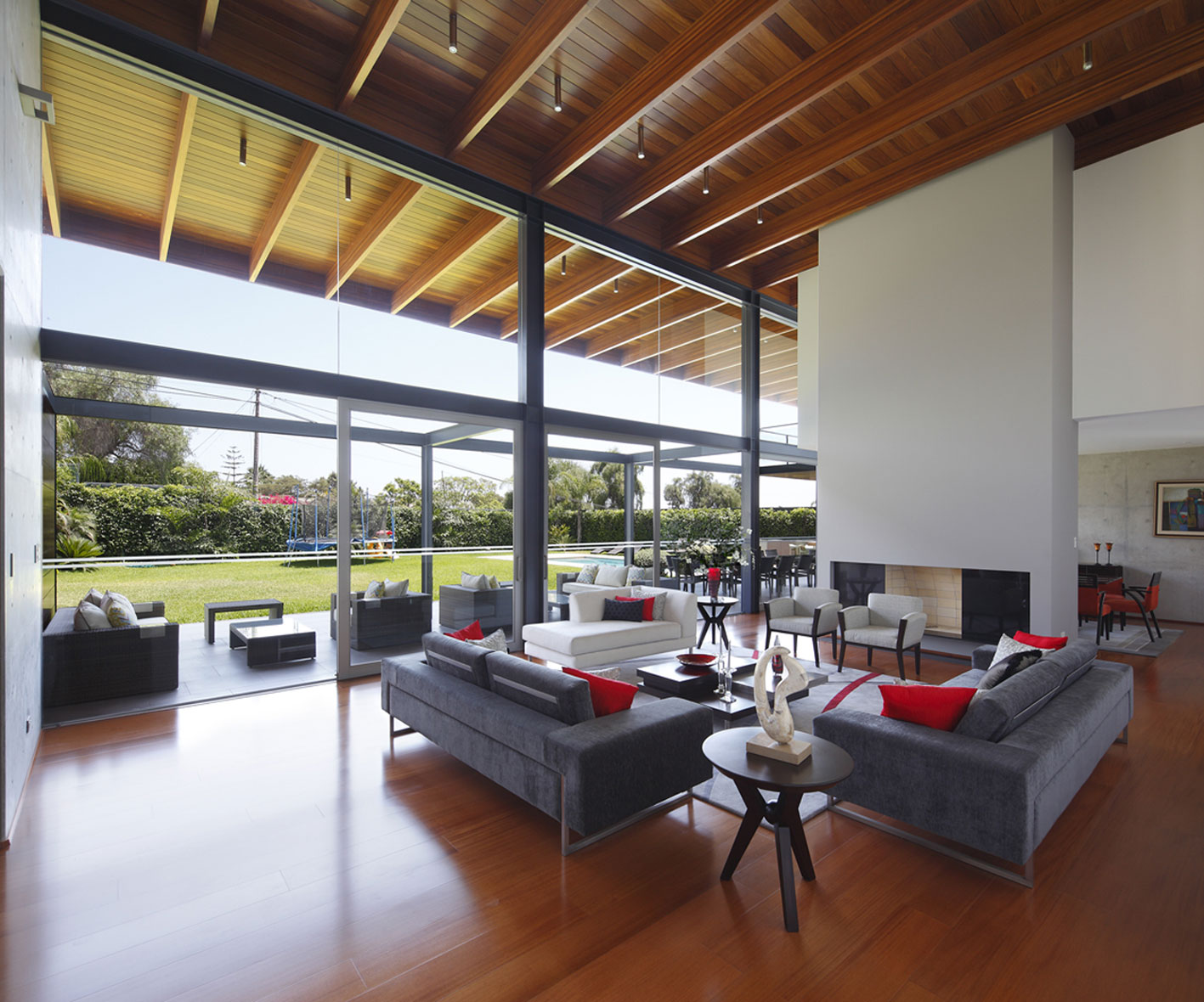 Living Room, Sofas, Fireplace, Glass Sliding Doors, Imposing Family Home in Lima, Peru
