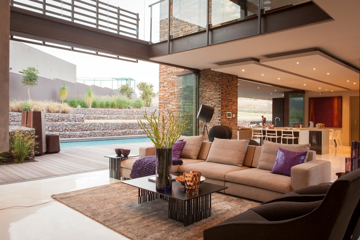 Living Space, Sofa, Rug, Coffee Table, Terrace, Pool, House in Johannesburg