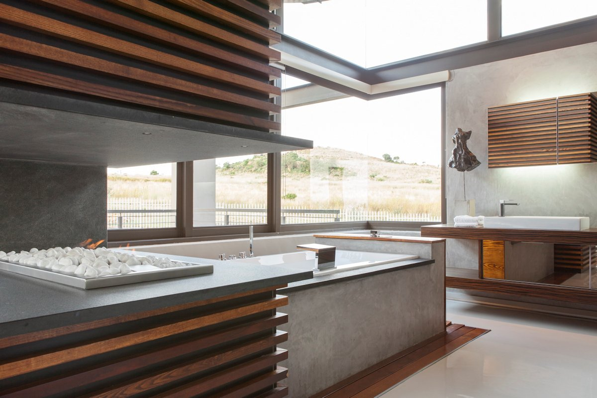 Modern Fireplace, Bathroom, Bath, Sink, House in Johannesburg