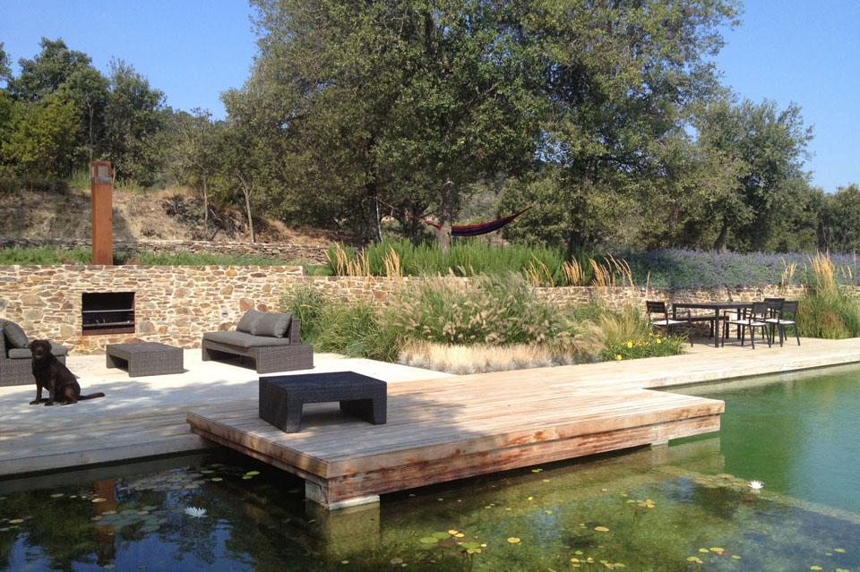 Natural Swimming Pool, Wood Terrace, Catalan Farmhouse, Girona, Spain