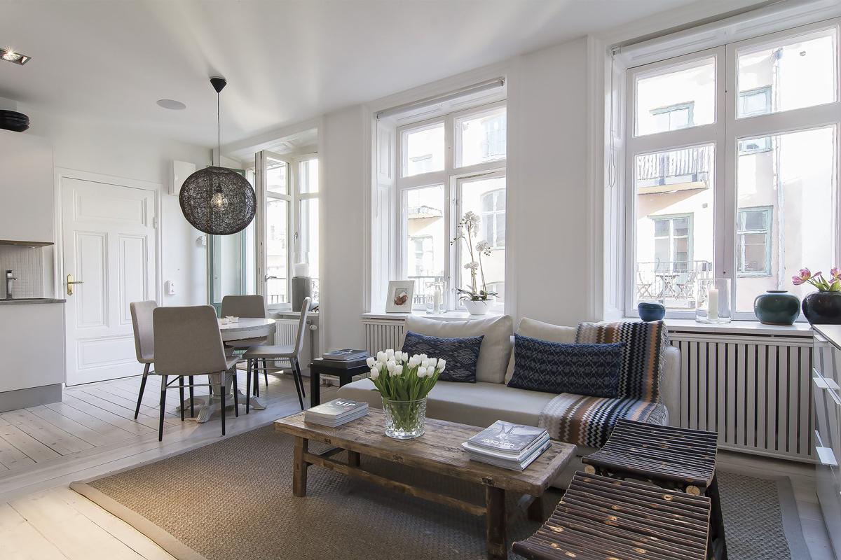 Open Plan Living, Dining Space, Apartment in Östermalm, Stockholm