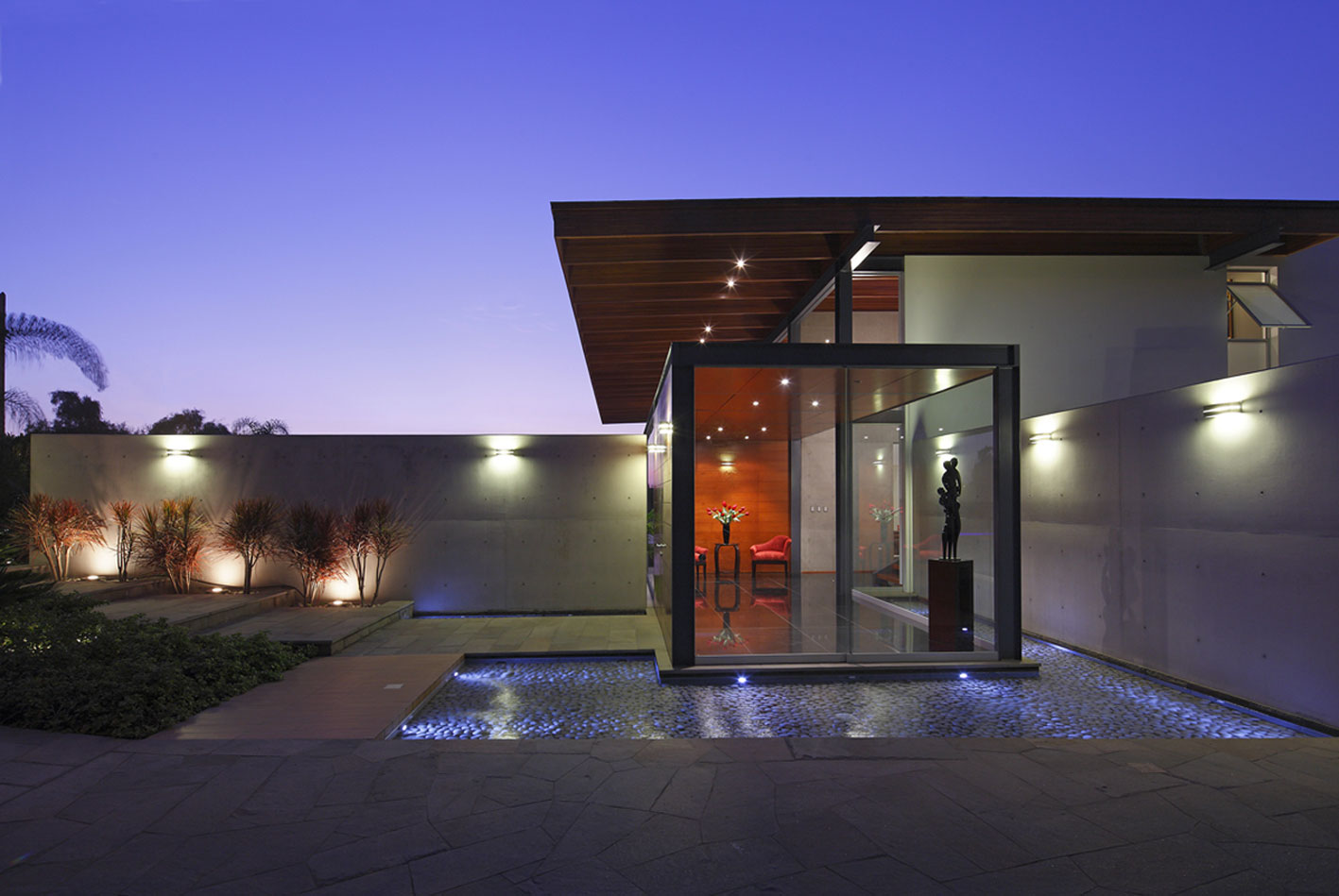Outdoor Water Feature, Lighting, Glass Entrance, Imposing Family Home in Lima, Peru
