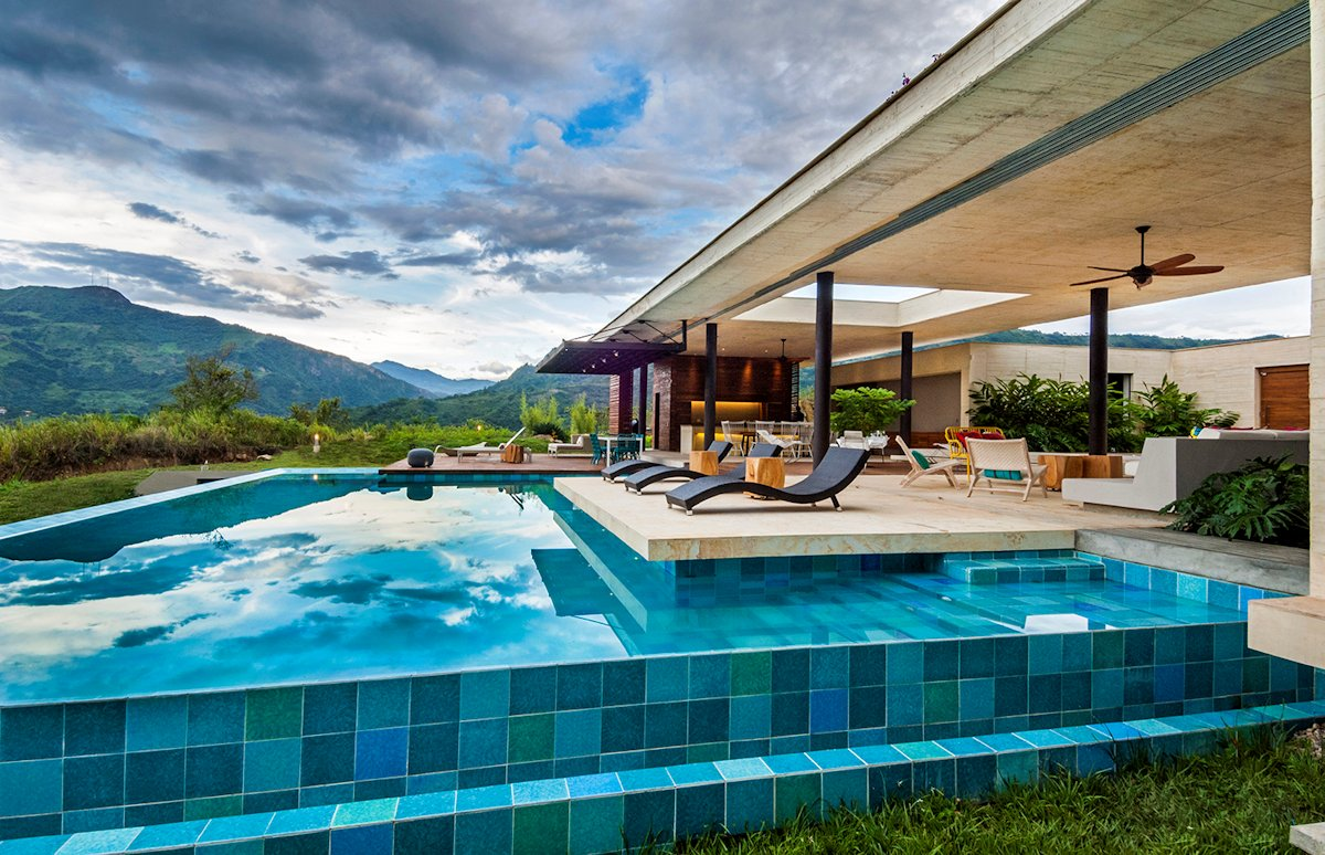 Pool, Blue Tiles, Terrace, House in Villeta, Colombia