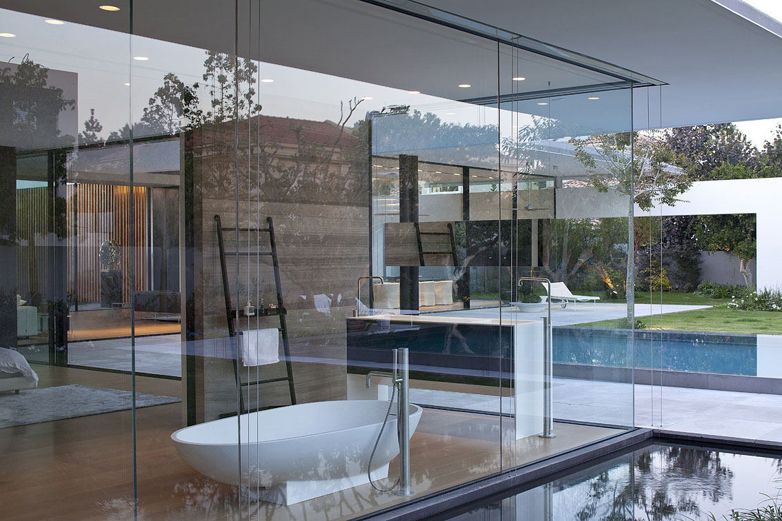 Pool, Glass Walls, Bathroom, Water Feature, Float House in Tel Aviv, Israel