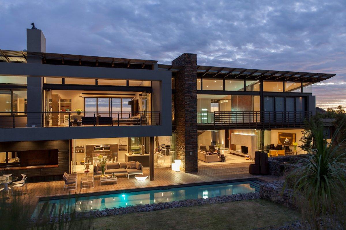 Pool, Terrace, Evening Lighting, House in Johannesburg