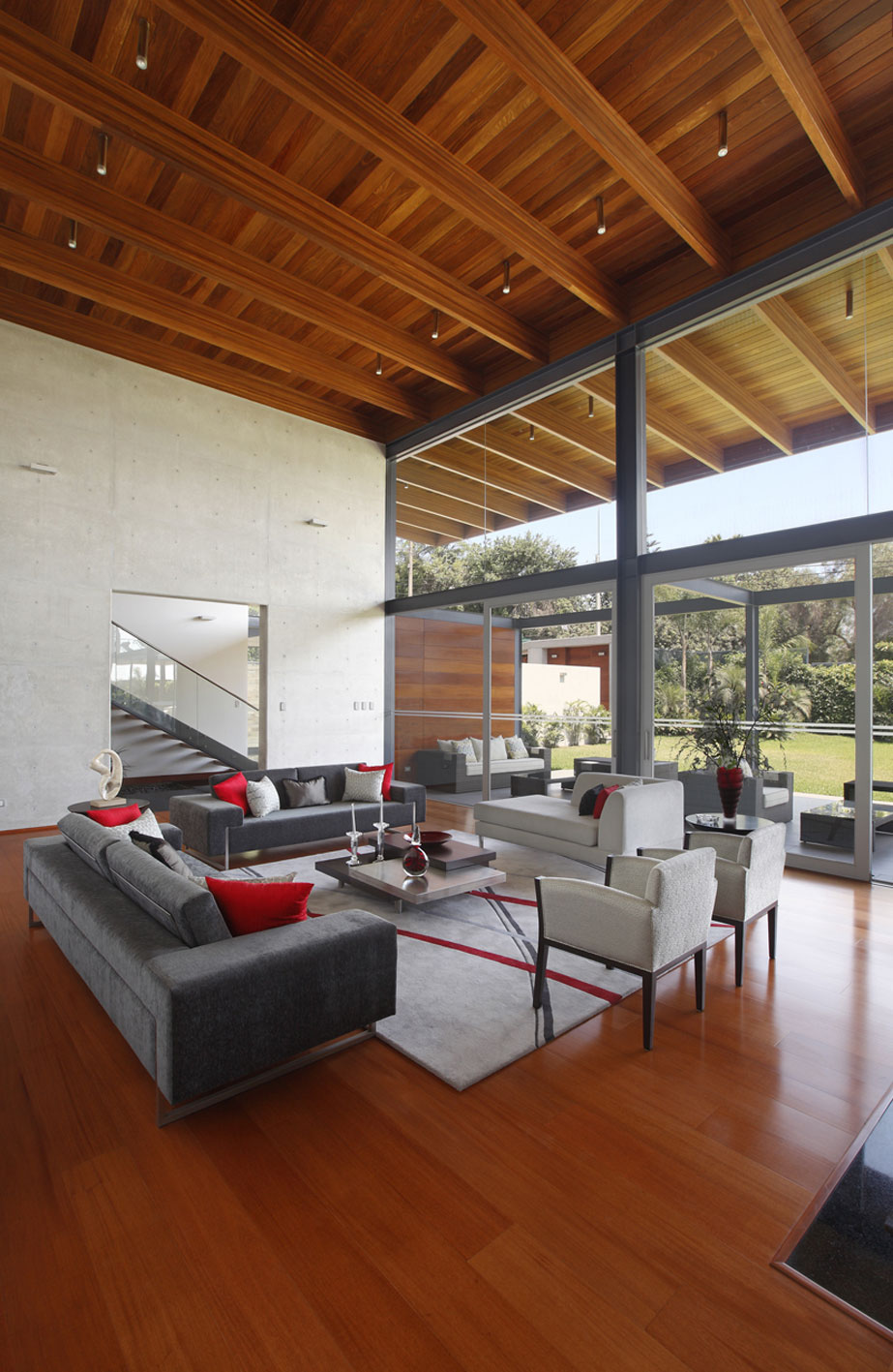 Rug, Sofas, Coffee Table, Wooden Flooring, Imposing Family Home in Lima, Peru