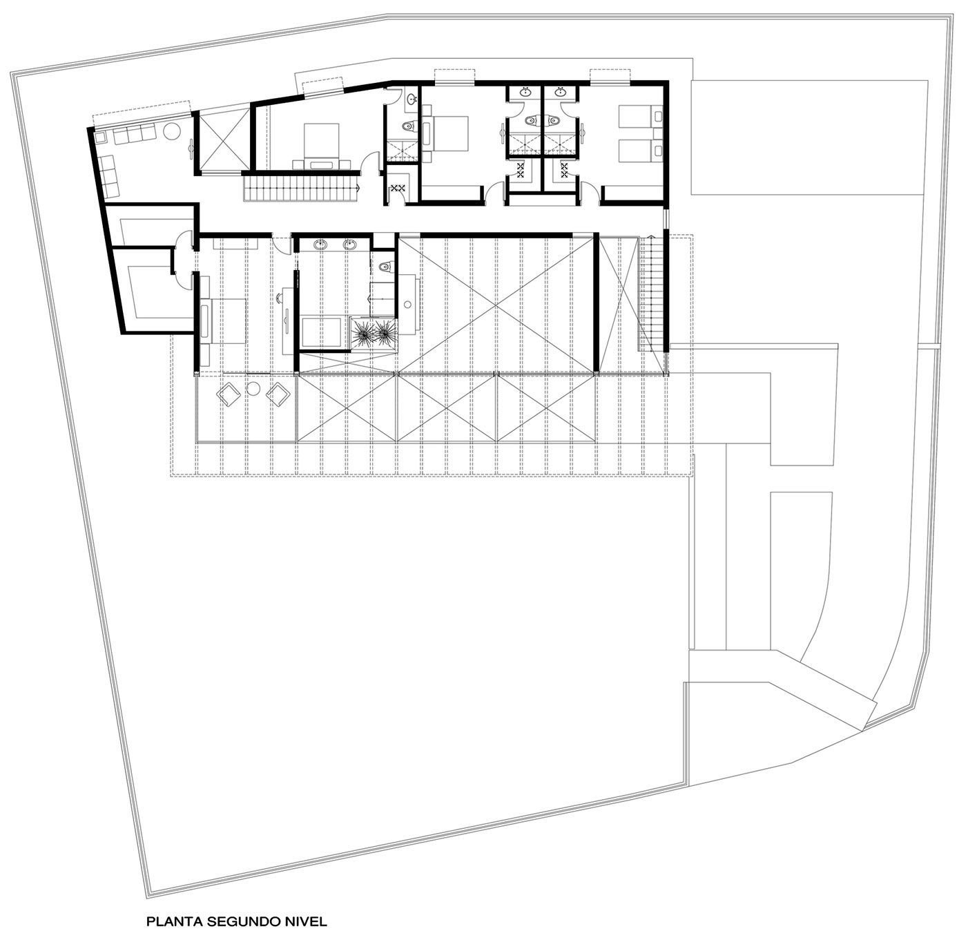 Second Floor Plan, Imposing Family Home in Lima, Peru